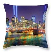 New York City Brooklyn Bridge Tribute In Lights Freedom Tower World Trade Center Wtc Manhattan Nyc Throw Pillow