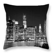 New York City Bw Tribute In Lights And Lower Manhattan At Night Black And White Nyc Throw Pillow