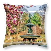 New York City Central Park Bethesda Fountain Blossoms Throw Pillow