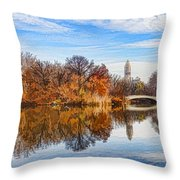 New York City Central Park Bow Bridge - Impressions Of Manhattan Throw Pillow