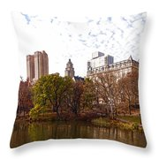 New York City Central Park Living - Impressions Of Manhattan Throw Pillow