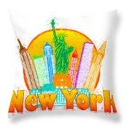 New York City Colorful Skyline In Circle Impressionist Illustrat Throw Pillow