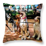 New York City Dog Walking Throw Pillow