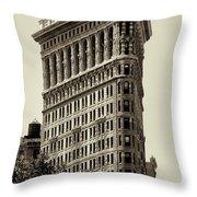 New York City - Flatiron In Sepia Throw Pillow