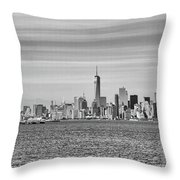 New York City From The Staten Island Ferry Throw Pillow