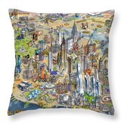 New York City Illustrated Map Throw Pillow