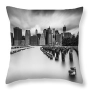 New York City In Black And White Throw Pillow