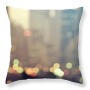 New York City Lights At Dusk Throw Pillow