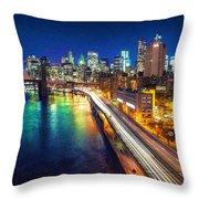New York City Lights Blue Throw Pillow