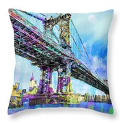 New York City Manhattan Bridge Blue Throw Pillow
