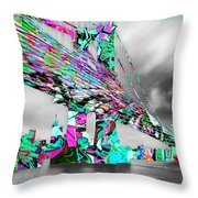 New York City Manhattan Bridge Pure Pop Green Throw Pillow