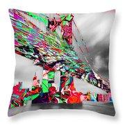 New York City Manhattan Bridge Pure Pop Red Throw Pillow