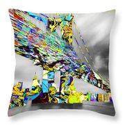 New York City Manhattan Bridge Pure Pop Gold Throw Pillow