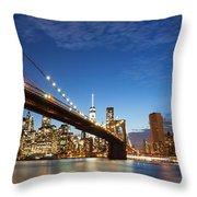 New York City Manhattan Skyline Panorama Throw Pillow