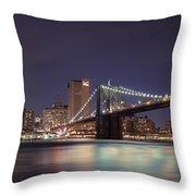New York City - Manhattan Waterfront At Night Throw Pillow