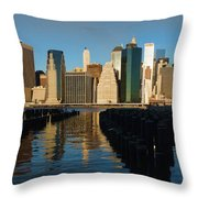New York City Morning Reflections - Impressions Of Manhattan Throw Pillow