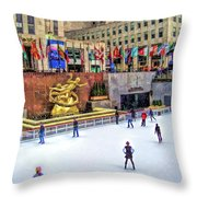 New York City Rockefeller Center Ice Rink Throw Pillow