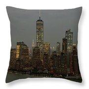New York City Skyline Aerial - Lower Manhattan Throw Pillow