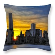 New York City Skyline At Dawn Throw Pillow