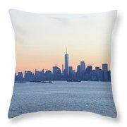 New York City Skyline At Sunrise  Throw Pillow