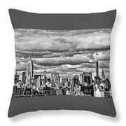New York City Skyline B And W Throw Pillow