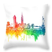 New York City Skyline Color Throw Pillow