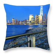 New York City Skyline From Liberty State Park In Jersey City New Jersey #3 Throw Pillow