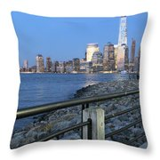 New York City Skyline From Liberty State Park In Jersey City New Jersey #4 Throw Pillow
