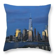 New York City Skyline From Liberty State Park In Jersey City New Jersey Throw Pillow