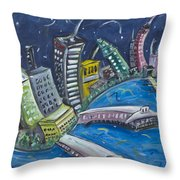 New York City Skyline Hoboken Throw Pillow