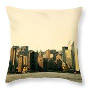 New York City Skyline Panorama Throw Pillow