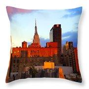 New York City Skyline Sunset Throw Pillow