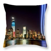 New York City Skyline Tribute In Lights And Lower Manhattan At Night Nyc Throw Pillow