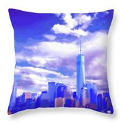New York City Skyline With Freedom Tower Throw Pillow