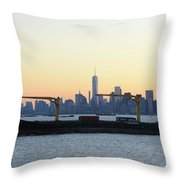 New York City Skyline With Passing Container Ship Throw Pillow