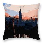 New York City Sunset Throw Pillow