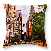 New York City Taxis Throw Pillow