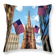 New York City Trinity Church Throw Pillow