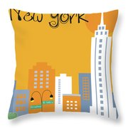 New York City Vertical Skyline - Empire State At Dawn Throw Pillow