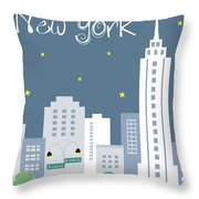 New York City Vertical Skyline - Empire State At Dusk Throw Pillow