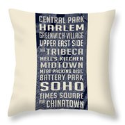 New York City Vintage Subway Stops With Map Throw Pillow