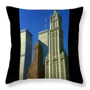 New York City - Woolworth Building And World Trade Center Throw Pillow
