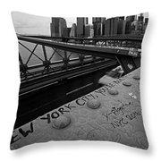New York City You're Beautiful Brooklyn Bridge Ny Black And White Throw Pillow