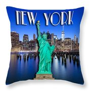 New York Classic Skyline With Statue Of Liberty Throw Pillow