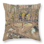 New York, Coney Island, C1906.  Throw Pillow