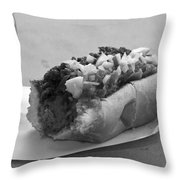 New York Corner Deli Dog Throw Pillow