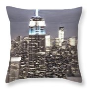 New York Empire State Building Blurred  Throw Pillow