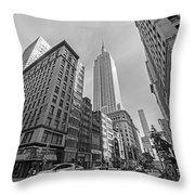 New York Fifth Avenue Taxis Empire State Building Black And White Throw Pillow