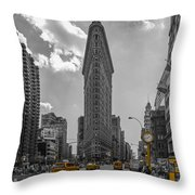 New York - Flatiron Building And Yellow Cabs - 2 Throw Pillow