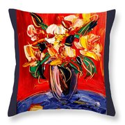 New York Flowers Throw Pillow